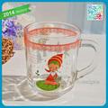 """Chica"""" con vestido rojo"""" transparente de té de vidrio taza de té de la flor del vaso de vidrio con mango"""