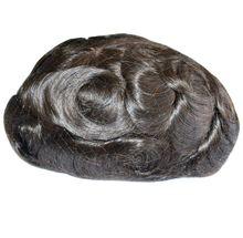 Colour 550 Brown Grey quality virgin human hair men's toupee for black men