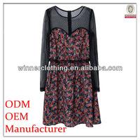 high fashion long sleeved spring summer fashion cotton girl dresses