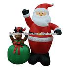 150cm high Christmas inflatable Santa and reindeer in giftbag