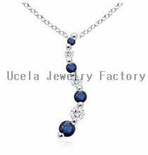 Round Blue Sapphire and Diamond Curved Journey Pendant multi gemstone silver fashion jewelry