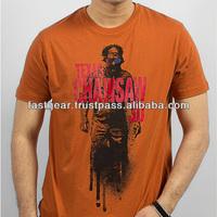 Rust Orange Cotton Chainsaw 3D Printed T Shirt