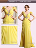 Spanish style long chiffon yellow cap sleeve crystal beaded sexy bling bling cocktail dress formal lady fashion dress