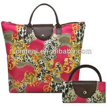 New Designer Foldable Women Handbags Vintage Multicolour Animals Print Nylon Tote Bag