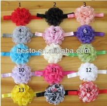 Korean fashion cheap chiffon mesh flower elastic baby headband wholesale