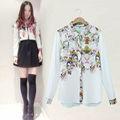 Nuevo 2014 caliente la venta de las mujeres de primavera y otoño de manga larga de estilo europeo camisas, de impresión de la flor de gasa blusas 6945