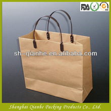 150g brown kraft paper bags with PU leather handle and bottom reinforce, paper bags