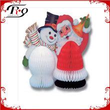 santa and snowman claus christmas honeycomb ball
