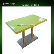 modern stainless steel base Green restaurant table