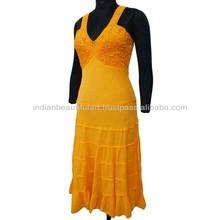 Orange Plain Dress Pure Cotton Long Sundress Spaghetti Straps Maxi