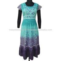 Blue Long Dress 100% Cotton Gown Embroidered Maxi Short Sleeve Sundress