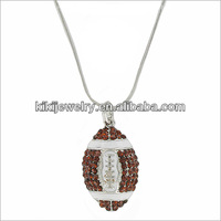 promotional full crystals setting rugby pendant necklace with snake chain jewellery