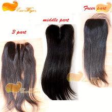 Free shipping 3 way part lace closure Virgin Filipino hair top lace closure straight natural color 120%density