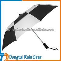 21inch*8ribs black white 2 fold umbrella with air vent