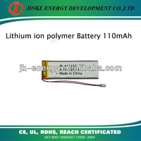 411235 rechargeable 3.7v 110mah lithium polymer battery with CE RoHS UL all certificates