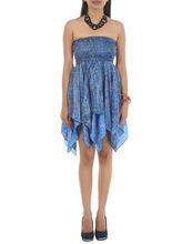 Mujeres de seda del arte impreso atractivo Floral Casual Wear vestido indio exportador en India
