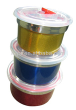 3pcs stainless steel colord freshed box with plastic lid
