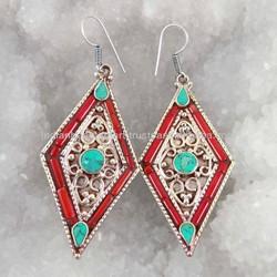 Red Coral Stone Silver Tone Metal Dangle Earring Set Fashion Women Nepal Jewelry