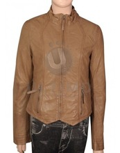 NATURAL STONE COLORED WESTERN LEATHER JACKET