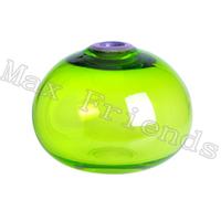 Art Glass Vase, Green w/Purple Rim Glass Vase For Home Deco