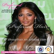 Popular lace front wigs with parts 16'' 1b# body wave Brazilian Virgin human hair direct factory