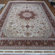 Hand-knotted handmade double knots wool and silk blend rug (Z12-10x14)