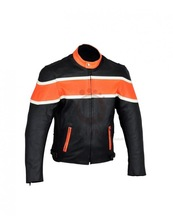 BLACK RIDER ORANGE BAND MOTORCYCLE LEATHER JACKET