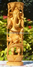 Wooden Tree Ganesha Statue God Ganesh Statue Ganesha Figurine Hand Carved India Large God Idol Sculpture Tree of Life