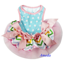 Easter Pastal Chevron Blue Polka Dots Pink Bow PETS Party Dress XS-L