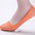 Venta al por mayor personalizado princesa calcetín con el arco de color naranja de color caramelo girls' no show invisible calcetines de encaje