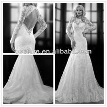 2014 winter sexy simple long sleeve lace open back wedding dress XT-874