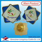 Gold metal sports meeting ceramic printing lapel pin badge with butterfly clasp for commemorative