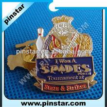 Cheap custom made metal badges for Spades Poker Tournament souvenir gift