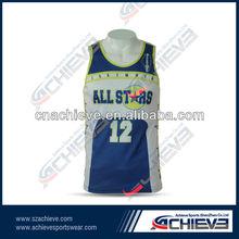 fashion style dye sublimation printing basketball tops