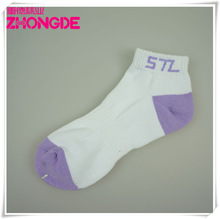 Plain White Custom Made Cotton Ladies terry Ankle Sock/ Women Sock