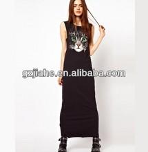 Fresh green eyed cat cat face portrait printed sleeveless dress long vest dress