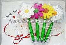 Plastic Flowerpot Design Ball Pen With Pen Holder Ballpoint Pen With Flower