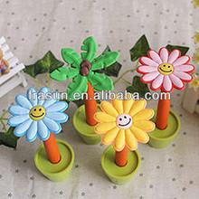 Pretty Smile Sunflower With Base Plastic Advertising Flower Ballpoint Pen