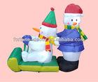 100cm high Christmas inflatable Snowmen on Sleigh
