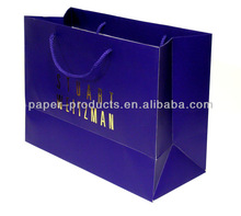 luxury blue shopping paper gift bag with gold foil