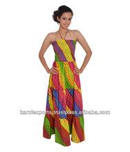 vestido con cuello halter maravillosamente hecho indio étnico del festival folk hermoso vestido de mujer vestido de cóctel