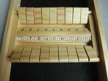 1001-4,Wood double 9 shut the box game