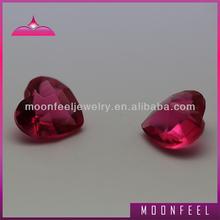 loose heart shape red glass gems
