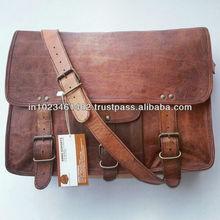 Real goat leather cross body unisex messenger bag