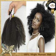 Unprocessed wholesale virgin brazilian 100% human afro kinky hair extension