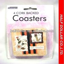 4pcs Cork Backed Coasters For One Dollar Item,kitchenware