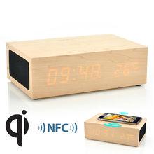 QiBox Wireless Qi Charging Wooden LED Clock