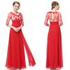 HE09053 3/4 Sleeve Sheer Lace Rhinestone Red V-neck Evening Dress