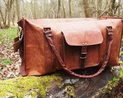 Real goat leather vintage luggage bag