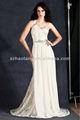 Elegante ht863 uno- hombro a largo blanco de encaje/de gasa vestido de noche